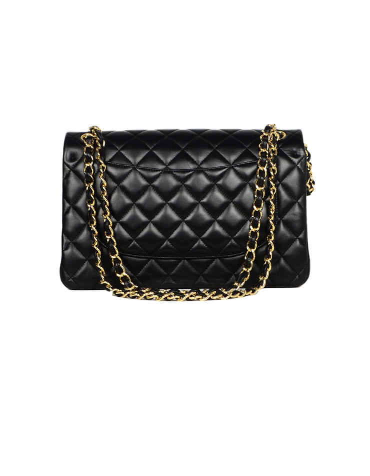 Chanel Black Lambskin Leather Quilted Double Flap Classic Jumbo Bag W  GHW 9252fbade568d