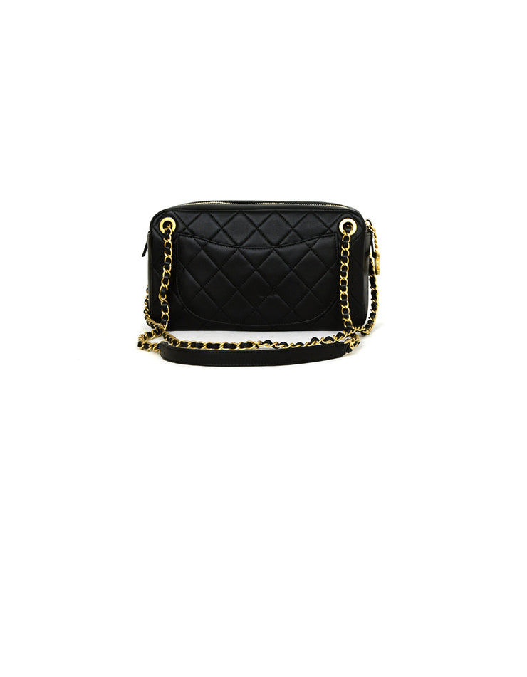 Chanel 2019 Black Leather Quilted All About Chains Camera Bag