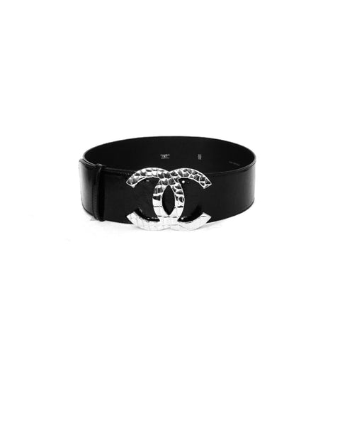 Chanel Black Patent Leather Wide Belt with Quilted CC Logo sz 80/32