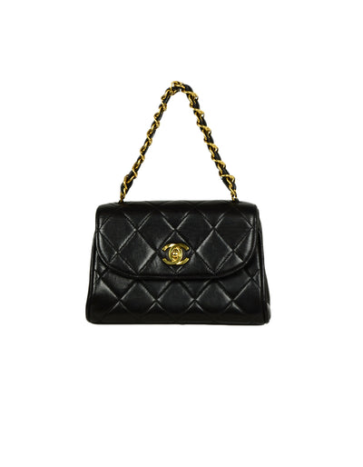 Chanel 1990s Vintage Black Quilted Mini Flap Top Handle Bag