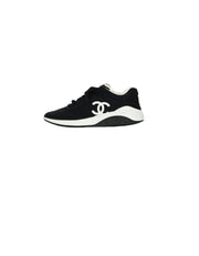 Chanel 2019 Black White Lycra CC Trainers Sneakers sz 39