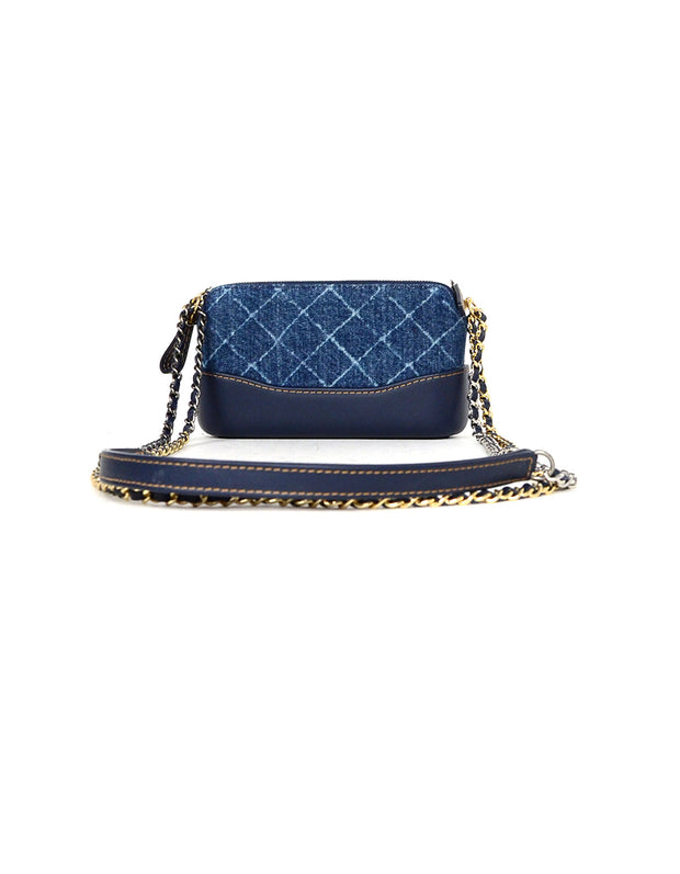 Chanel 2018 Blue Denim Quilted Small Gabrielle Clutch with Chain Crossbody Bag