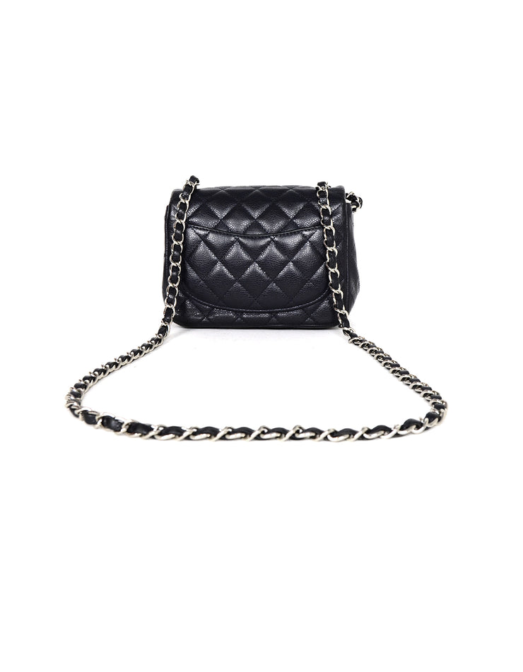 Chanel Navy Caviar Leather Mini Classic Bag