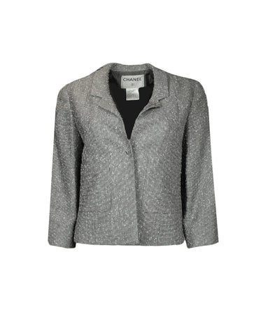 Chanel Silver Tweed Jacket & Silver Pants sz 38