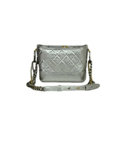 Chanel Silver Metallic Aged Calfskin Quilted Small Gabrielle Hobo Bag