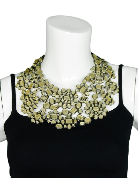 Chanel Taupe Glass CC Floral Bib Collar Necklace rt. $11,000