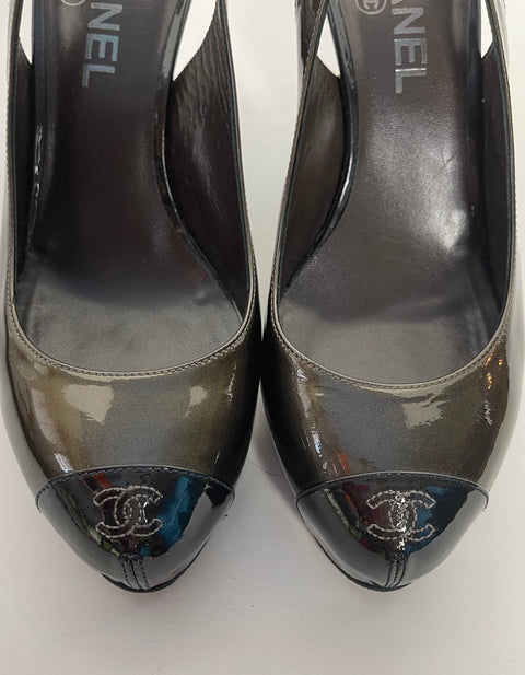Chanel Bronze Patent Leather CC Captoe Metallic Slingbacks sz 38
