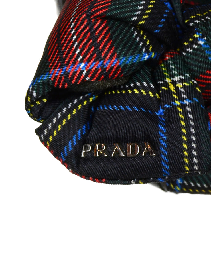 Prada Black Patent Leather Flats with Plaid Bow sz 36.5