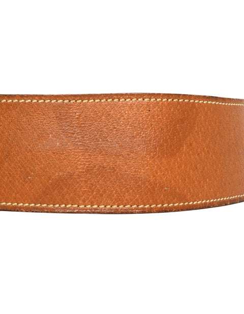 Hermes Tan Leather Belt W/ Gold Hardware Sz S