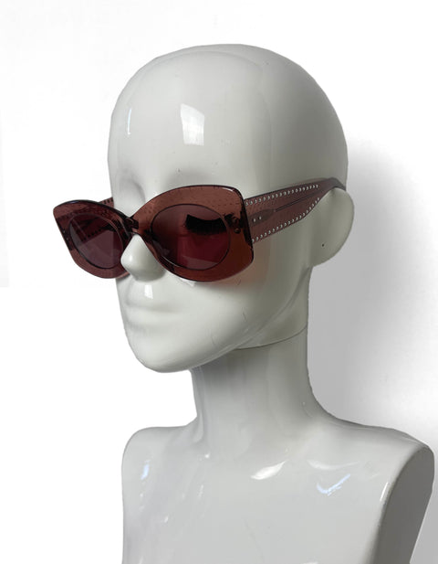 Alaia 2020 Nude Acetate AA0013S Sunglasses w/ Studding