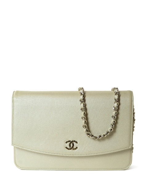 Chanel Silver Caviar Leather Wallet On A Chain Crossbody Bag