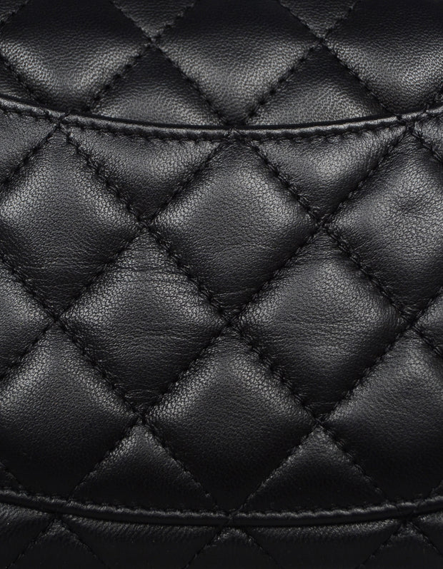 Chanel 2019 Black Lambskin Leather Quilted Rectangular Mini Classic Flap Crossbody Bag
