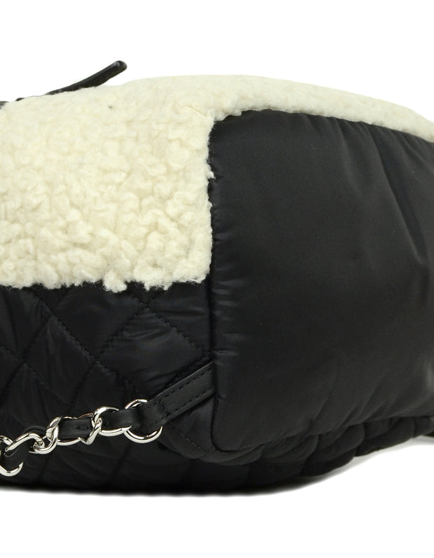 Chanel Black/Ecru Nylon & Shearling Coco Neige Backpack