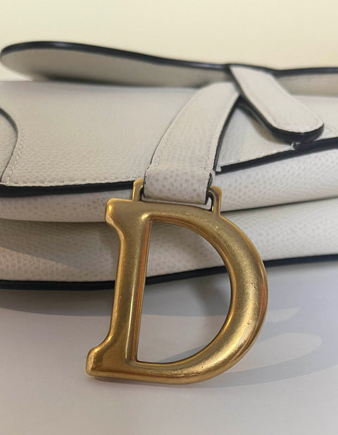 Dior White Grained Calfskin Leather Mini Saddle Bag