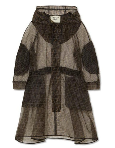 Fendi Oversized Printed Organza Monogram Zucca Brown Parka w/ Hood IT48