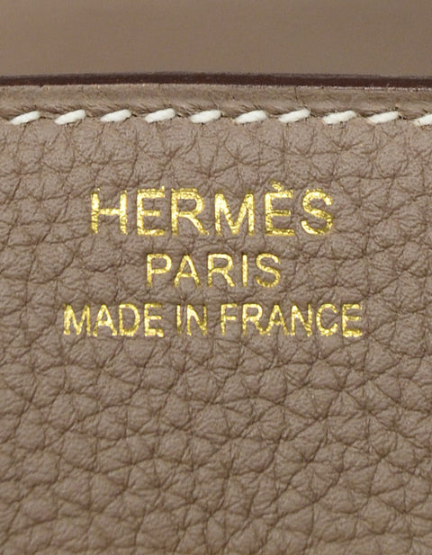 Hermes NEW 2017 Etoupe Togo Leather 35cm Birkin Bag GHW