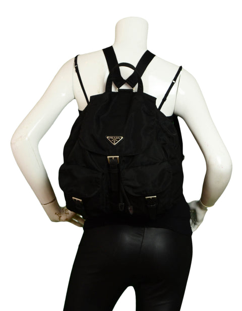 Prada Black Nylon Double Pocket Backpack Bag