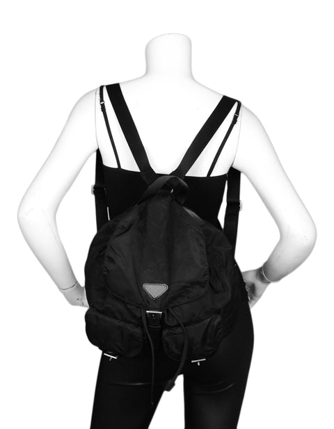 Prada Black Nylon Double Buckle Pocket Backpack Bag
