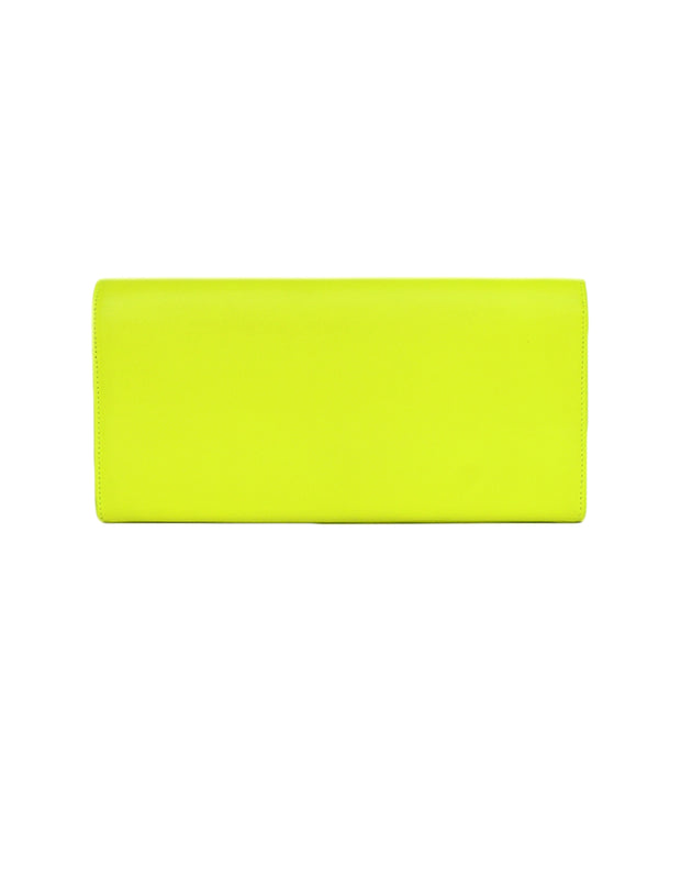 Saint Laurent Neon Yellow Smooth Leather Classic Monogram Cassandre Clutch Bag