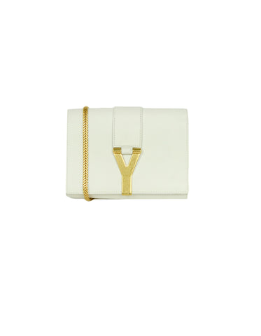 Saint Laurent White Leather Y-Ligne Mini Pochette Crossbody Bag