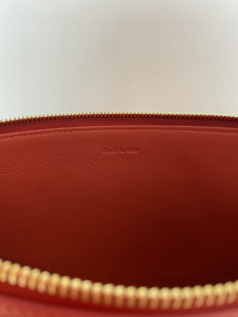 Celine Rust Bi-Color Leather Solo Clutch Pouch Bag