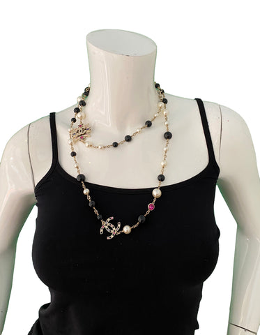 Chanel Pearl & Black Bead CC Necklace w/ Crystals