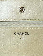 Chanel Silver Caviar Leather Wallet On Chain WOC Crossbody Bag
