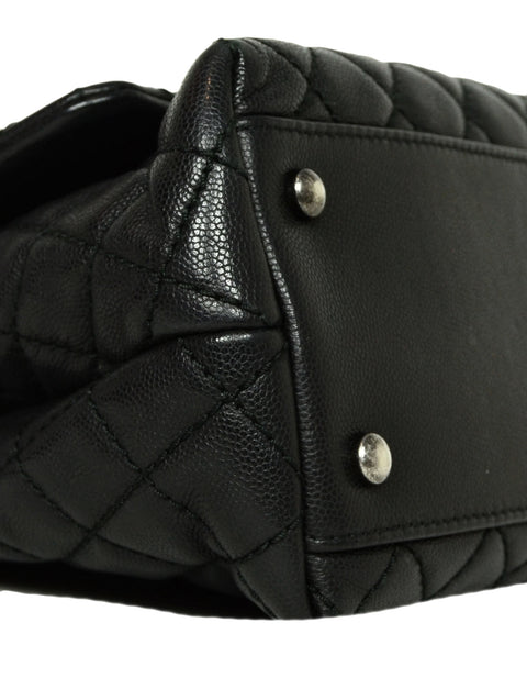 Chanel Black Caviar Quilted Small Coco Handle Flap Bag