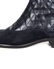 Chanel Navy Calfskin Quilted Zip Front Boots sz 37