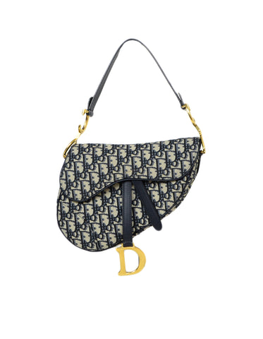 Christian Dior Blue Oblique Monogram Canvas Saddle Bag