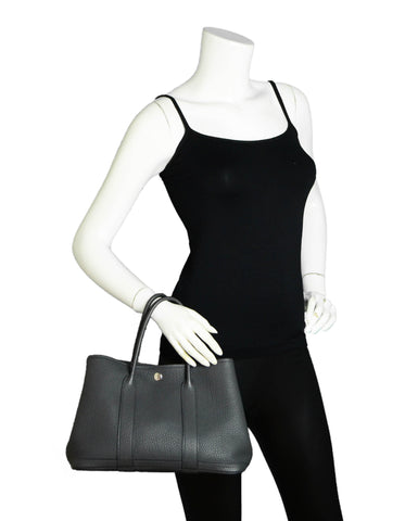 Hermes Dark Grey Negonda Leather Garden Party 30 TPM Bag