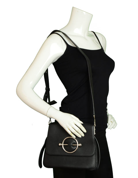 J.W. Anderson Black Leather Silver Disc Crossbody