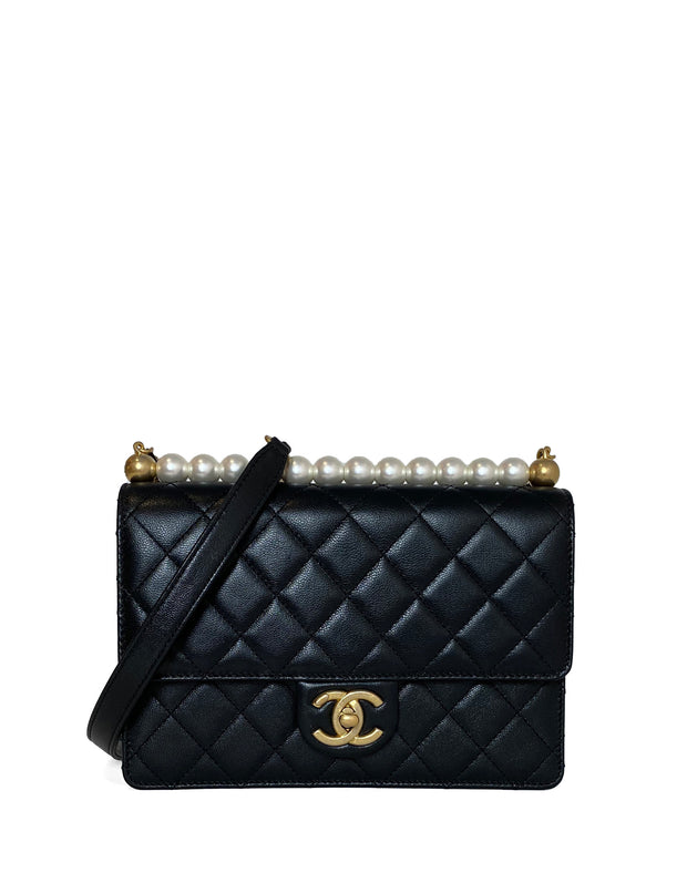 Chanel NWT Black Goatskin Leather Quilted Small Chic Pearls Flap Bag