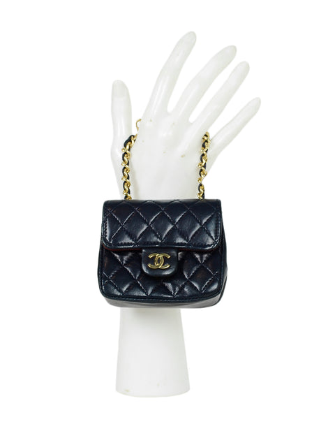 Chanel Navy Lambskin Quilted Micro Mini Flap Belt/Bag Charm