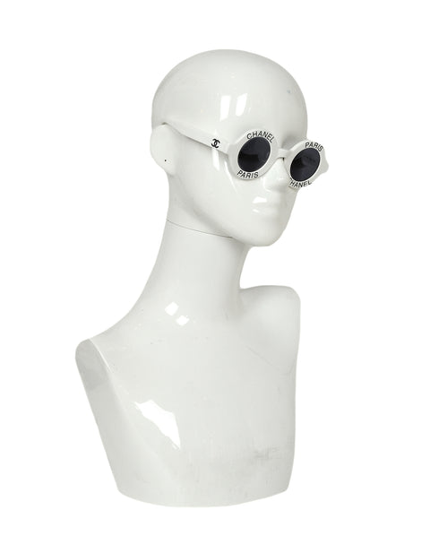 Chanel Vintage '90s White Round Frame Sunglasses w/ Chanel Paris