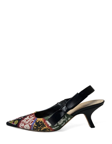 Christian Dior Embroidered Sweet-D Slingback Pumps sz 40