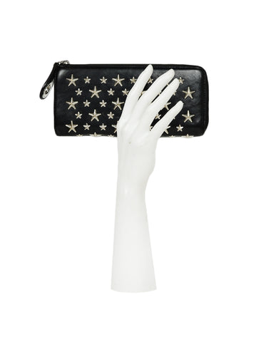 Jimmy Choo Black Leather Star Studded Zip Around Wallet