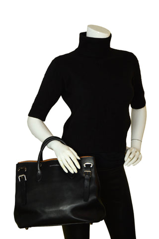 Ralph Lauren Black Leather Buckle Tote Bag w/ Strap