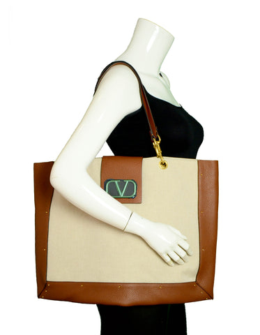Valentino NWT Beige City Safari Leather-Trimmed Canvas Tote Bag
