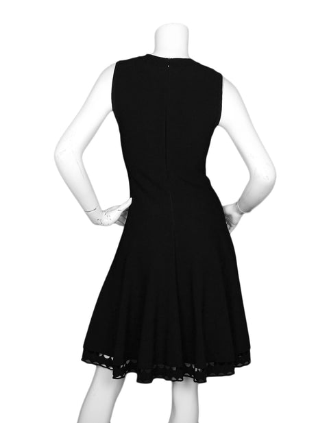 Alaia Black Fit & Flare V Neck Sleeveless Dress W/ Crochet Hem Sz FR42