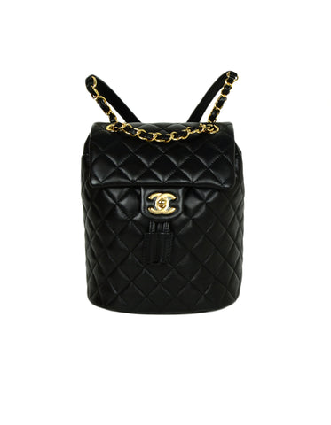 Chanel NEW 2019 Black Lambskin Quilted Mini Urban Spirit Backpack Bag