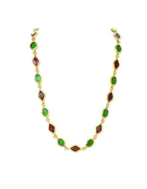 Chanel Vintage Green & Red Gripoix Necklace