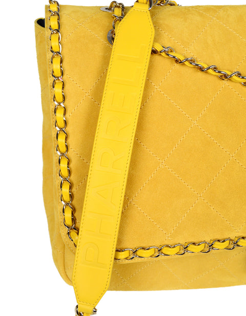 CHANEL x PHARRELL 2019 LIMITED EDITION Yellow Suede XXL Quilted Flap Bag