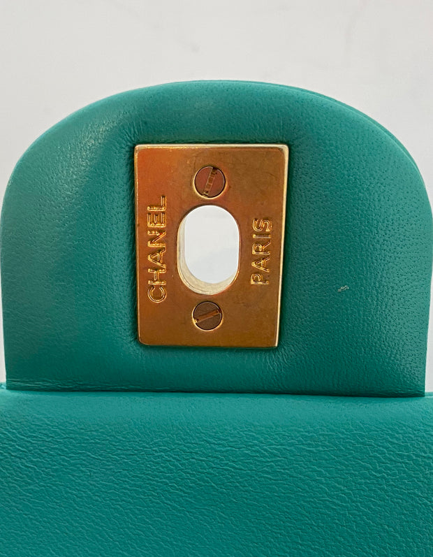 Chanel 2019 Turquoise Lambskin Quilted Rectangular Mini Flap Bag