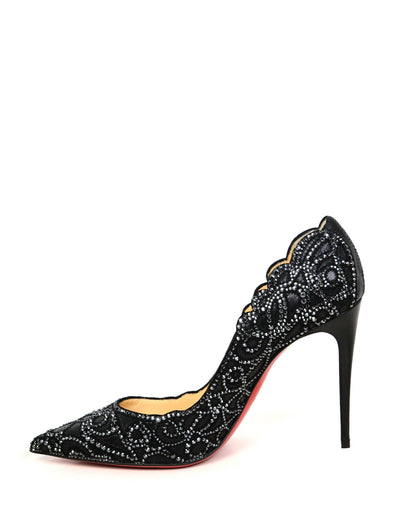 Christian Louboutin NEW Black Calfskin Scalloped Crystal Top Vague Pumps sz 39.5