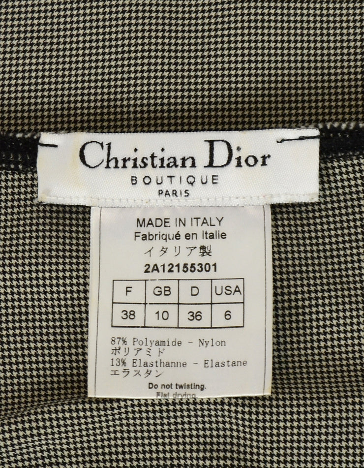 Christian Dior Vintage Black/White Houndstooth J'Adore Tank Top sz 6