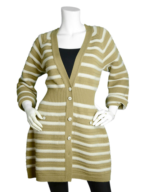 Chanel NWT Tan/Beige 2015 Striped Cashmere Button Up Sweater sz FR44 rt. $3,700