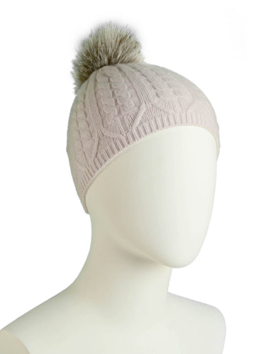 Loro Piana Light Pink Cashmere Knit Beanie w/Fox Pom Pom