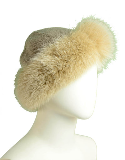 Loro Piana Beige Cashmere Knit Hat w/Fox Trim