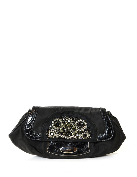 Prada Nylon Clutch Bag w/ Crystal Encrusted & Crocodile Detail